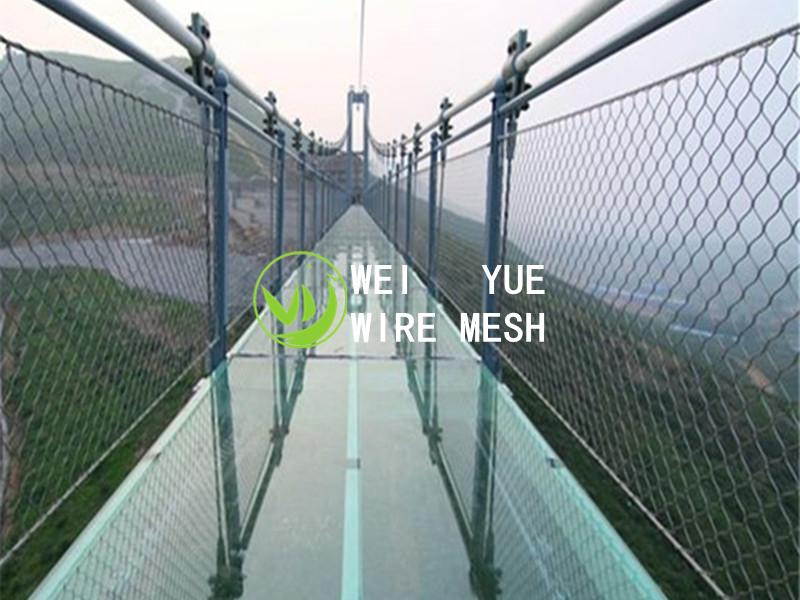 Stainless steel wire rope net for bridge safety fence