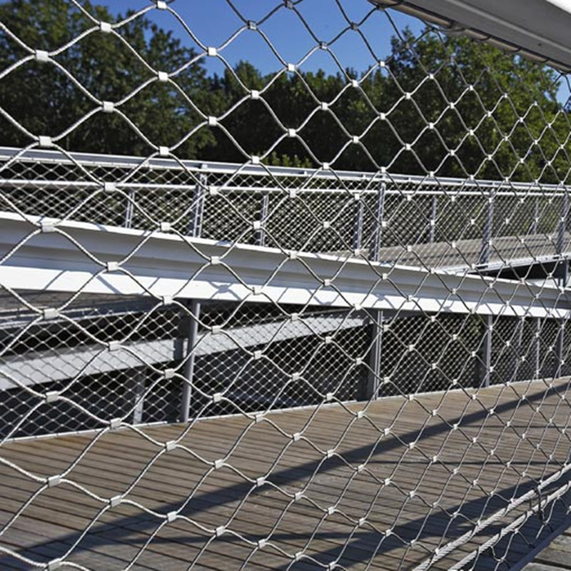 Stainless steel suspension bridge railing rope net
